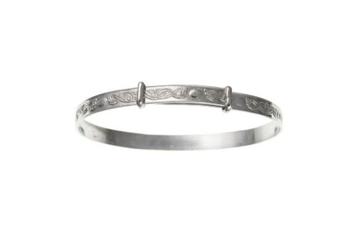 Solid Silver Child's Bangle Age 7 - 13 years Celtic Design Adjustable